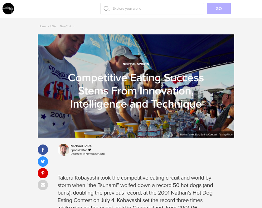 Competitive eating success stems from innovation, intelligence and technique