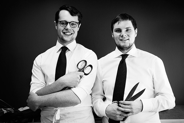 Niklas and Anton Magnusson, cousins in the next generation of Hestra and two of the youngest glove makers in the world. PHOTO: Hestra