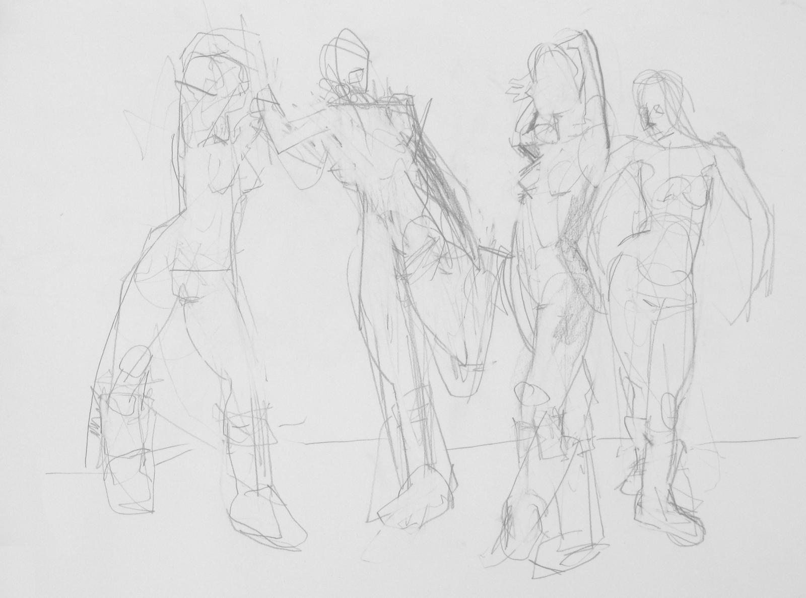 "fives in boots  2016  graphite  24""x18""  Four short poses in a row from life-drawing night two weeks back. The floor is cold, so we're often drawing nudes in boots."