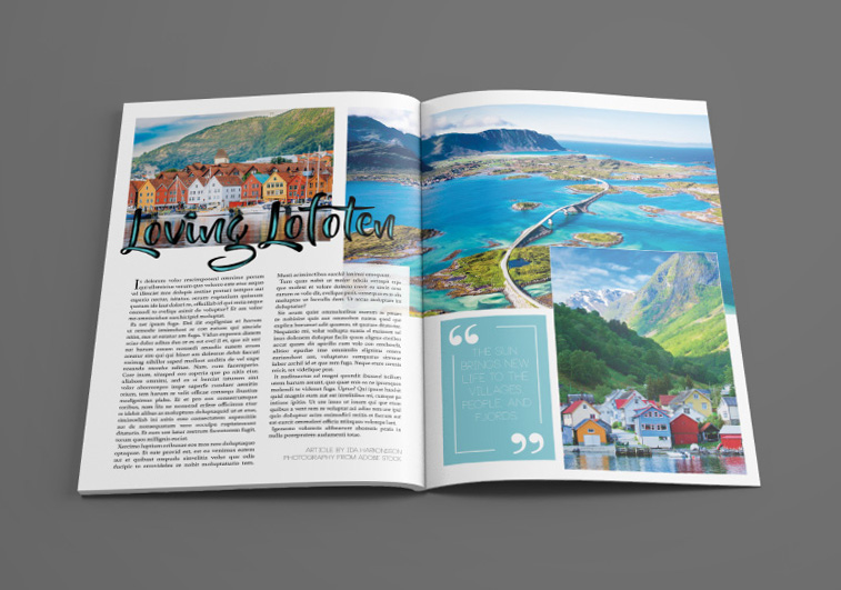 Layout design sample for travel publication. Photography from Adobe Stock Images.
