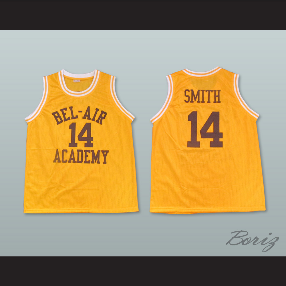 Mens Basketball 14# The Fresh Prince of Bel Air Academy 90s Hip Hop Clothing for Party Men Basketball Jersey Yellow, XX-Large