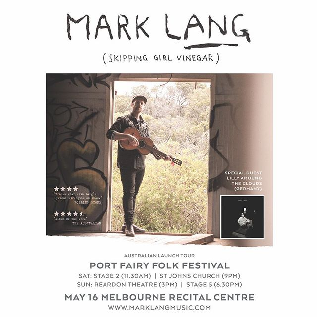 Big News: I Launch my solo release at Melbourne Recital Centre @melbrecital on May 16. I can't wait to return to this beautiful theatre with my full animation show. I will be joined by incredible special guest  @lillyamongclouds all the way from Germany.  Limited tickets available so get in early to avoid disappointment.  Ticket link in bio. Full tour dates coming next week.  This weekend I head to the glorious @portfairyfolkfestival This is one of my all time favourite festivals and I am looking forward to sharing these new songs with you all.. Hope to see you there.  Cheers Mark x