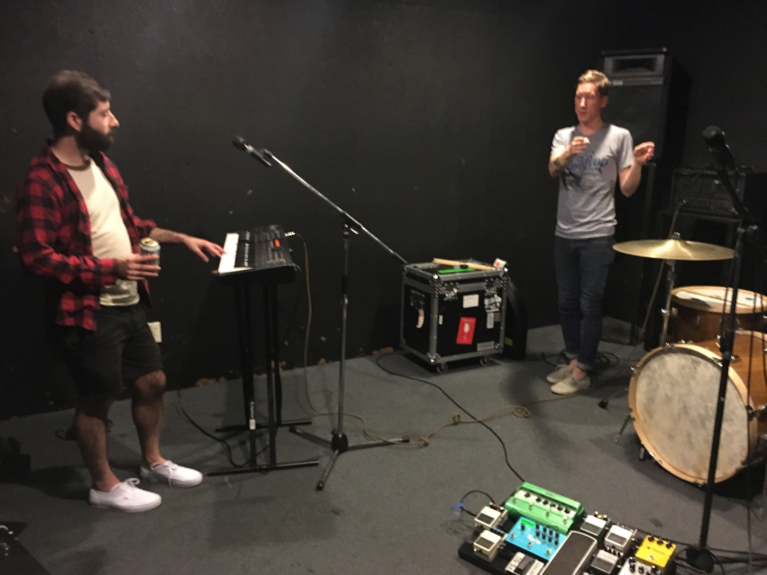 Jason and Daniel working out parts during pre-production