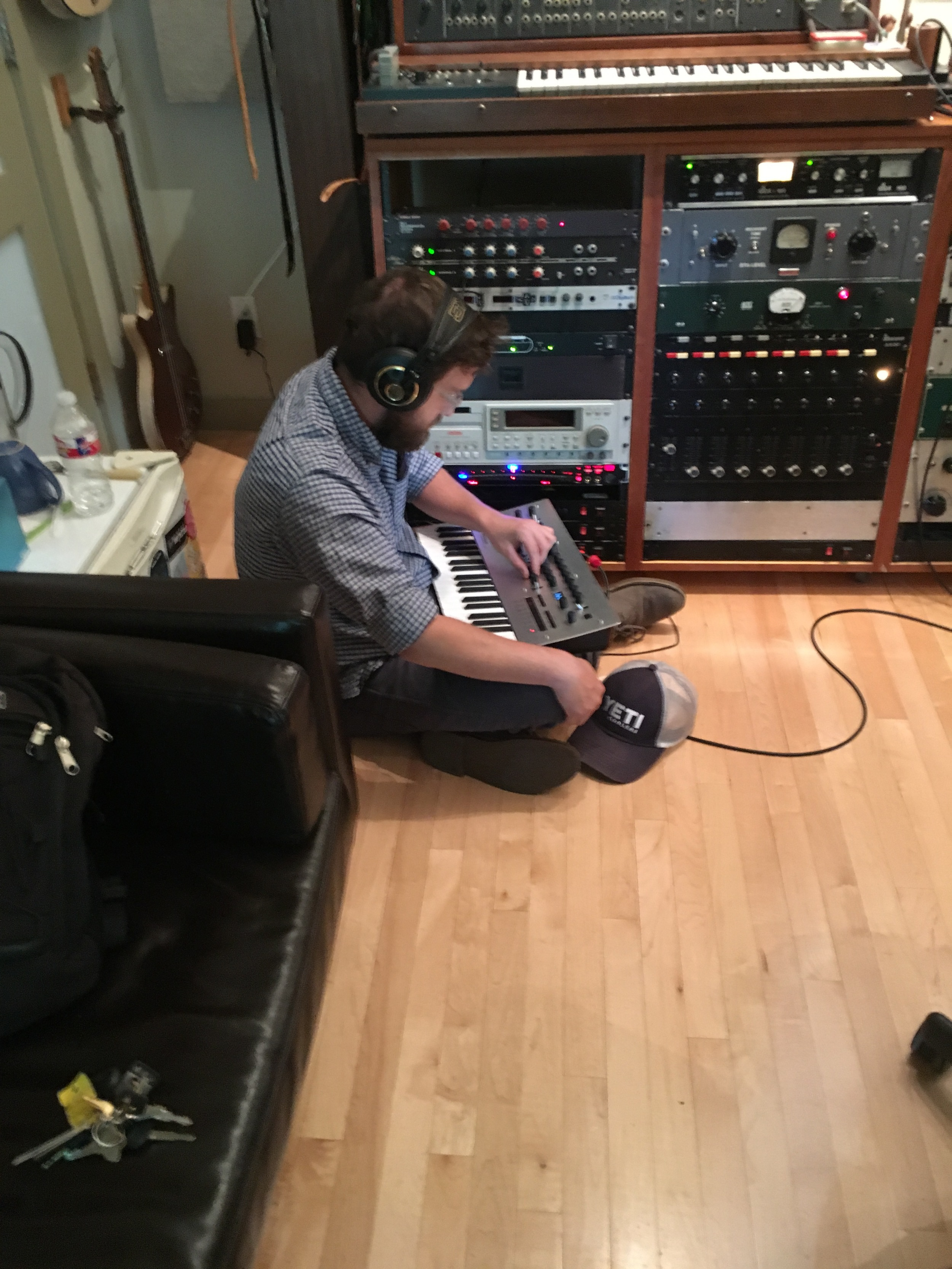 Matt Hines recording a synth arrangement at Resonate in Austin, TX