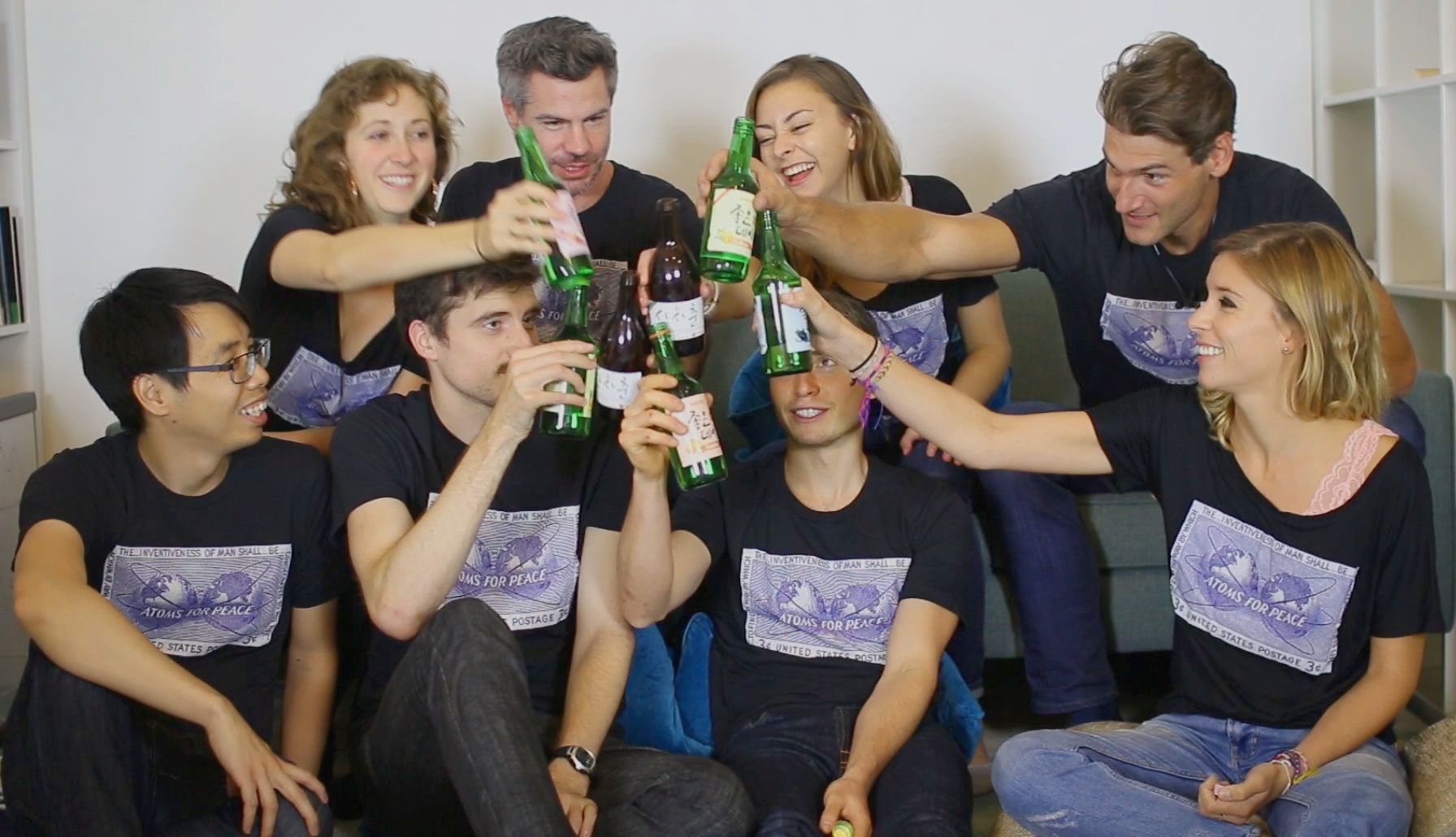 EP staff toasts South Koreans (with soju) for landslide pro-nuclear victory.