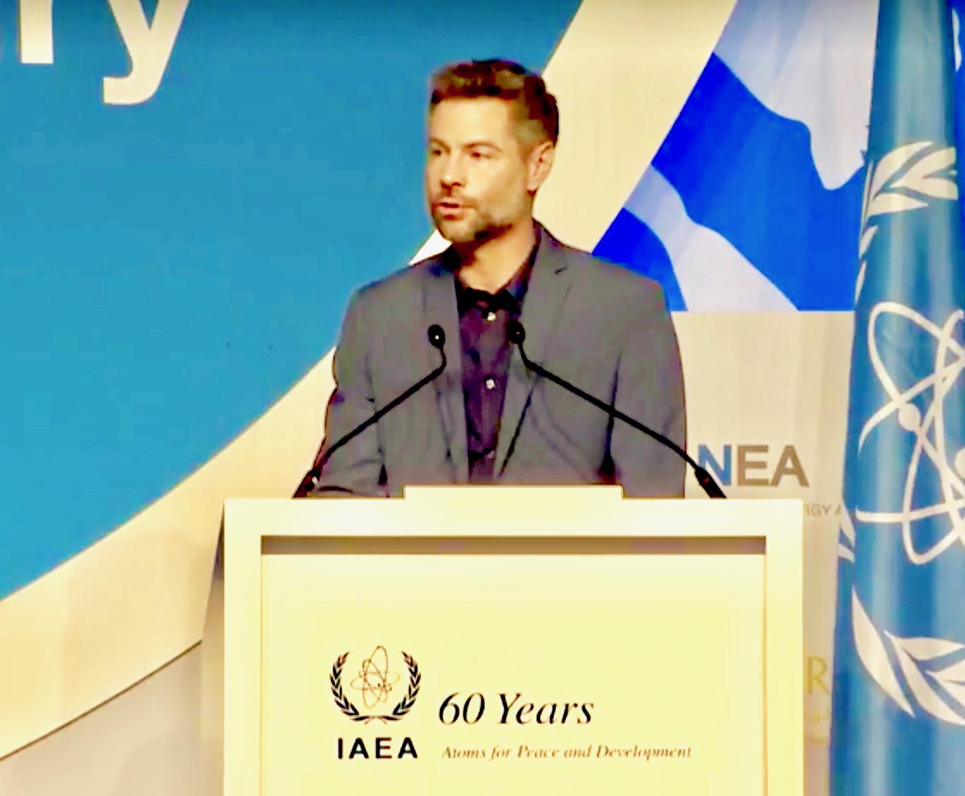 """ As-salāmu  ʿ alaykum."" EP President Michael Shellenberger addressing IAEA quadrennial inter-ministerial in Abu Dhabi, United Arab Emirates (UAE)"