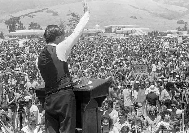 "Jerry Brown addresses a crowd of nearly 30,000 people at a ""No Nukes"" Rally in San Luis Obispo, promising to oppose construction of diablo canyon nuclear power plant  Source:  T  he pop history dig"