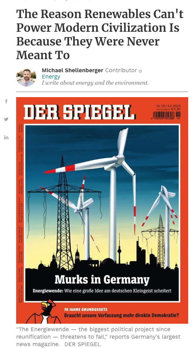 Michael Shellenberger, President of Ep, article on how Germany has failed in their energy transition