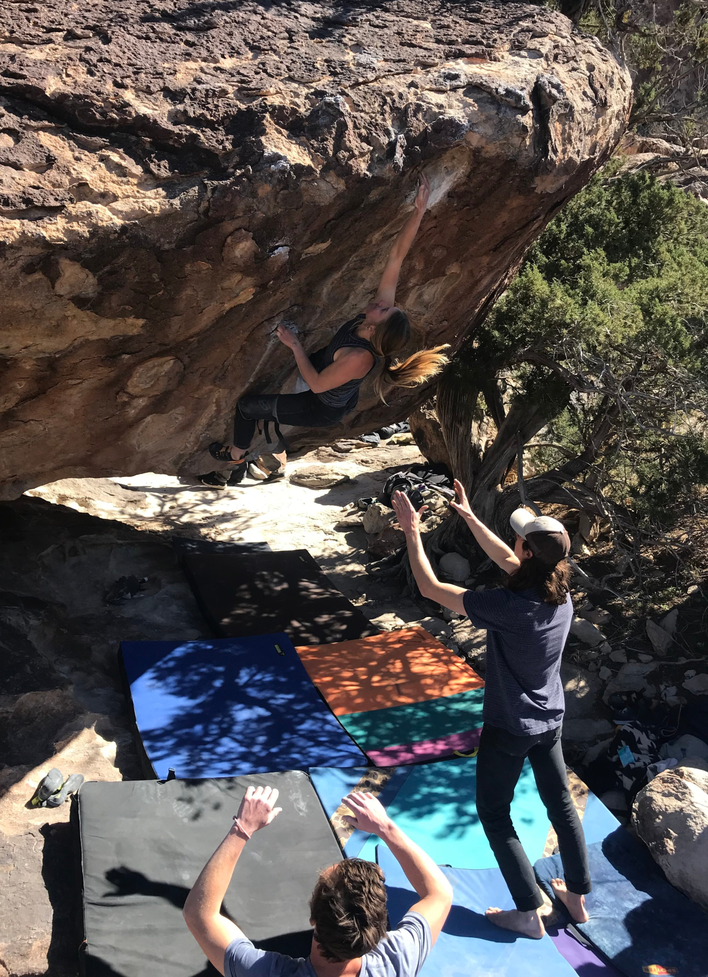 One of the things I like best about Hueco is getting to climb with so many good friends. Kate Tierney sending the incredible Try Harder (v9+)