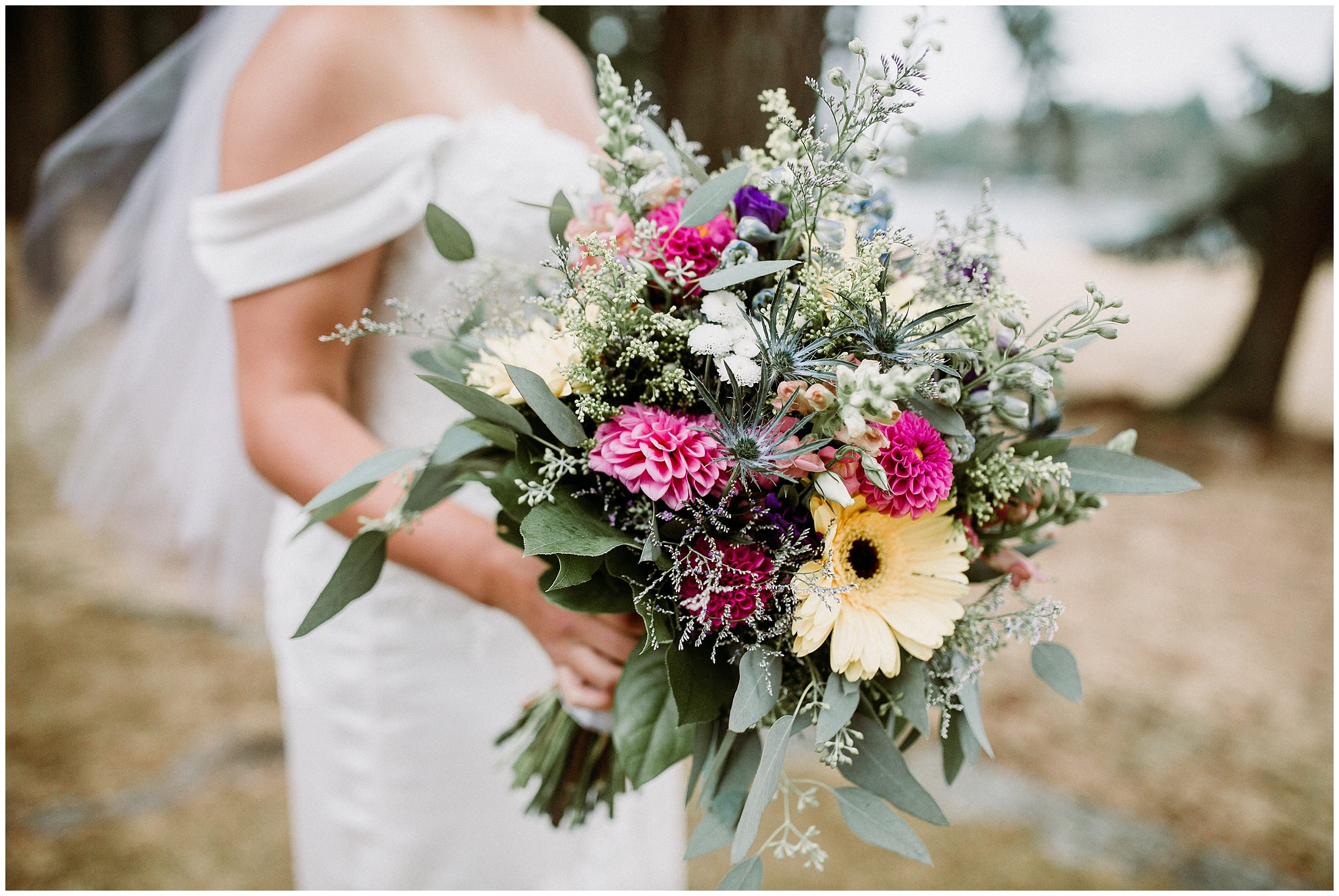 Newcastle Island BC Wedding lady bug floral