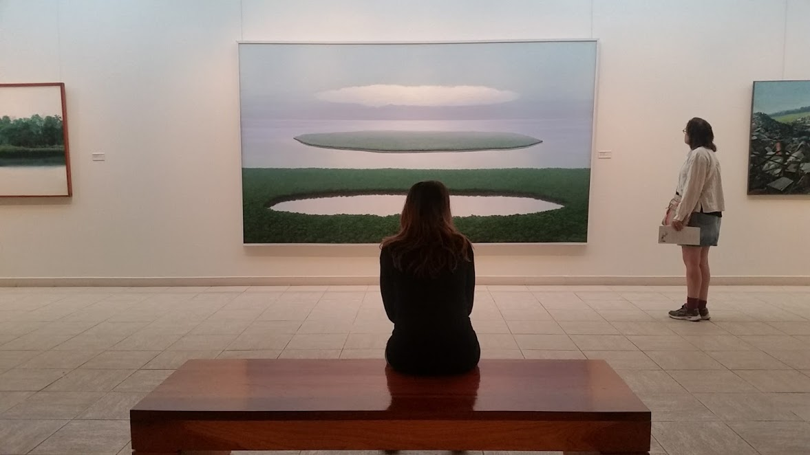 Sitting quietly in meditation.
