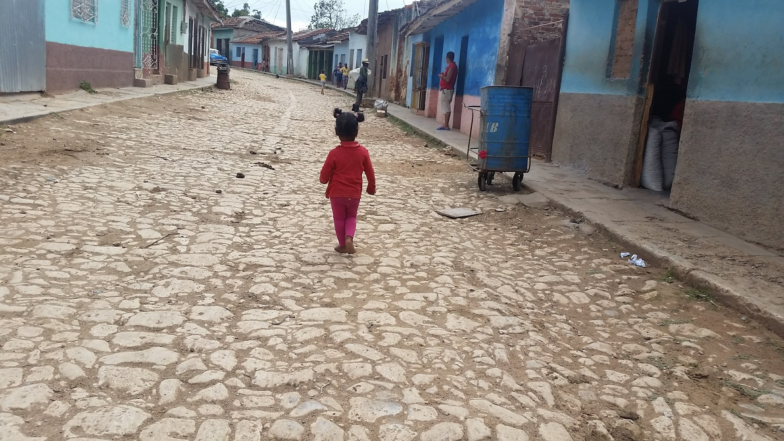 A toddler learning to walk