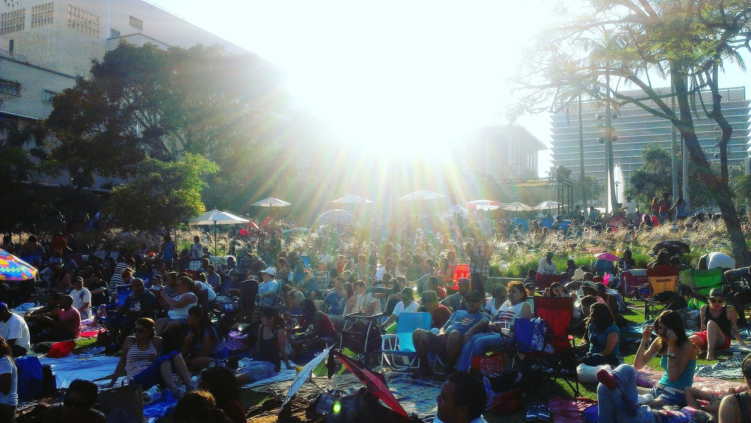A summer music festival at Grand Park in Los Angeles, CA.