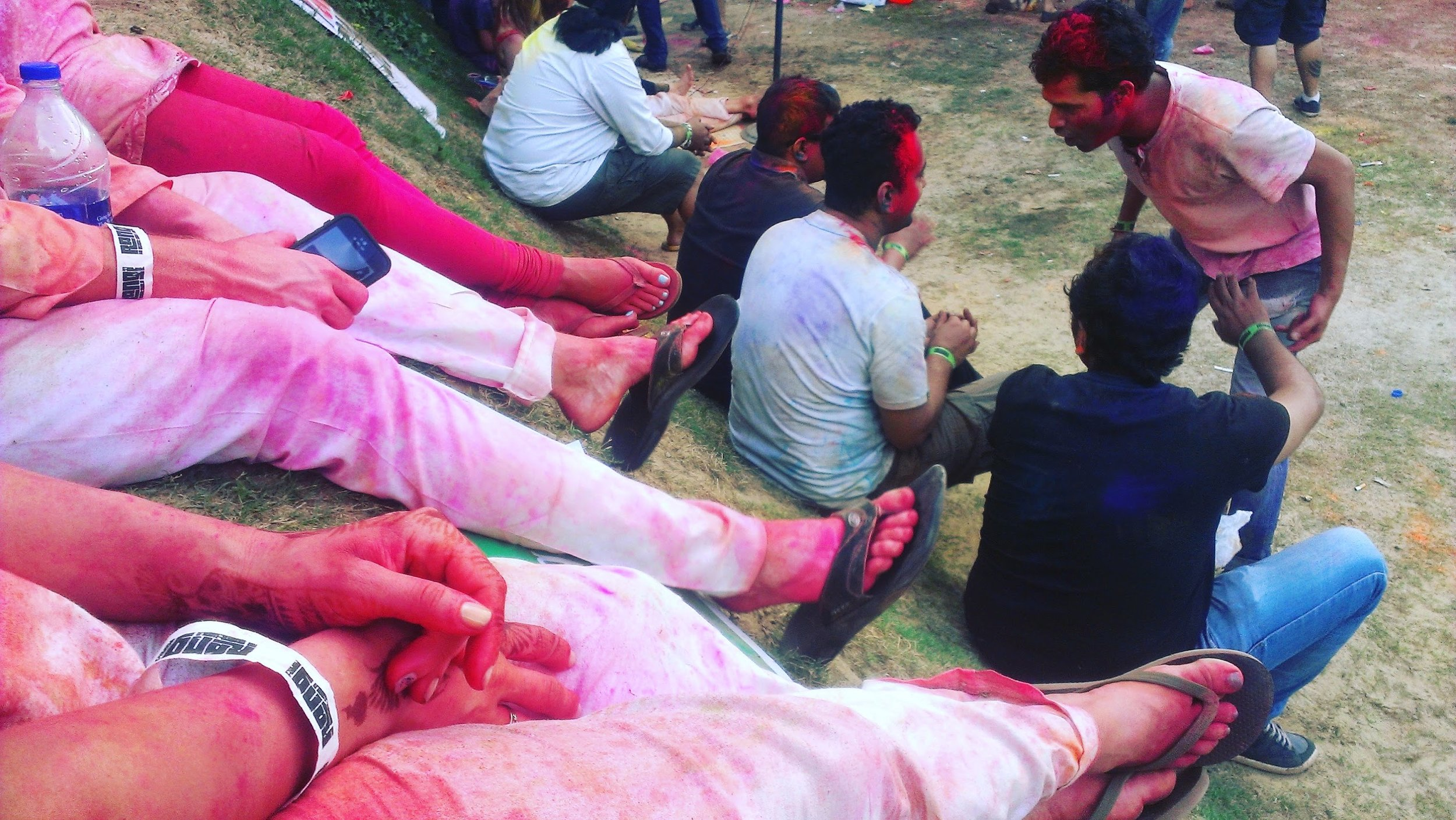 Some serious doing nothing at Holi in India.