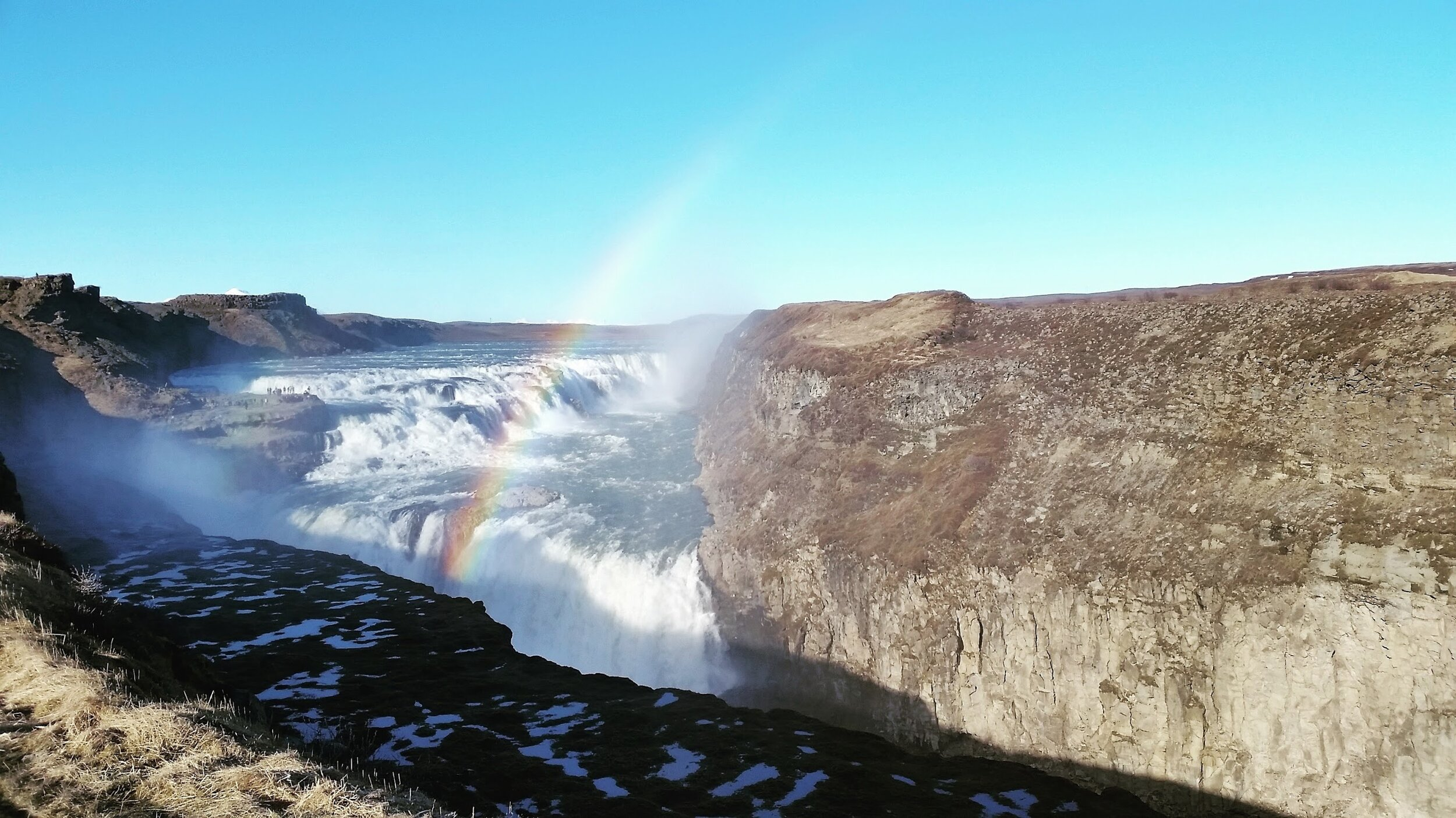 Rainbows over waterfalls, such as Gullfoss in Icleand, are magic!