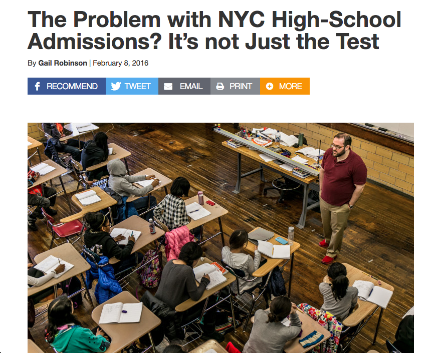 "City Limits - ""NYC High School Admissions"""