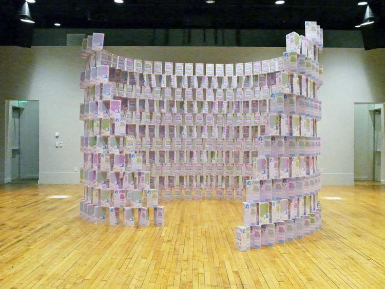 Sissy's Château Fa'sho   modular print installation  12.5' diam x 10', 500-560 silkscreen printed boxes  Debut at Pacific Northwest College of Art, Portland, Oregon  2016