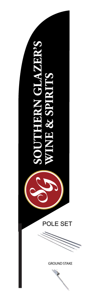 FEATHER FLAGS14' TALL FEATHER• Sign is made out of Polyester fabric• Print is on one side. Backside is a mirror print. Double sided is available for an additional $85• Includes telescoping pole and ground spike for a complete kitprice $148.00 Ea +tax -
