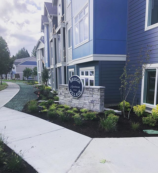 Briggs Village Apartments in Olympia are ready for tenants. We finished this monument sign up last month. Logo/Sign Design/ Sign Construction / stone work all done by SignDog.