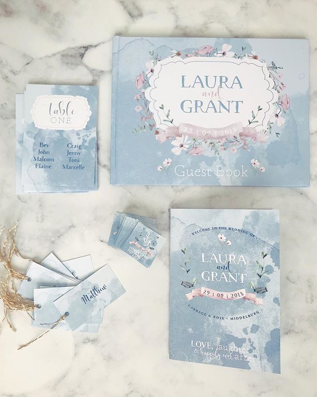 One of my favourite sets! Happy wedding day to Laura and Grant who are tying the knot @cabbageandrosecountry.  I loved creating all their on-the-day items which included a custom guest book. . . . . #weddingstationery #weddingstationerydesign #weddingday #floral #onthedaystationery #guestbook #rudedesign
