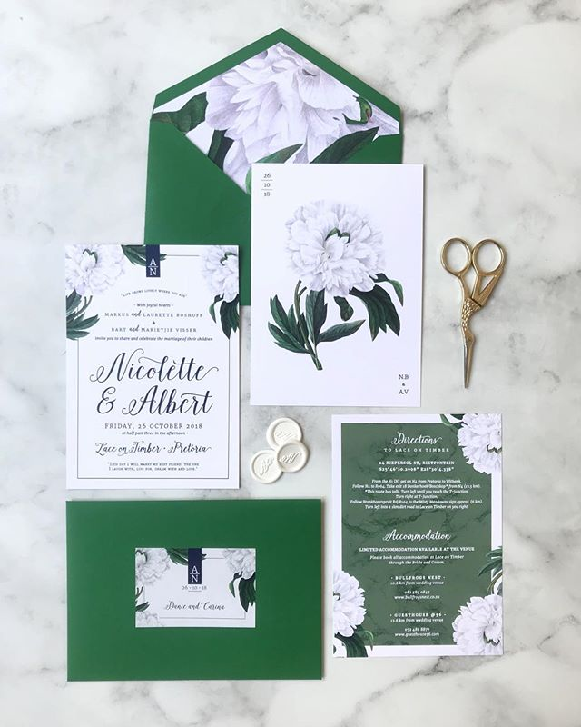 Happy wedding day to Nicolette + Albert who are tying the knot at @lace_on_timber today! I loved working this botanical suite! 💕 . . . . #botanical #peony #greenwhitenavy #amazoneenvelope #envelopeliner #weddinginvitations #weddingstationery #weddingstationerydesign #rudedesign