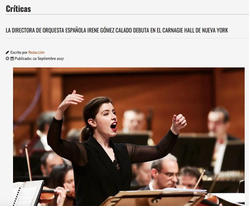 Platea Magazine - La directora de orquesta española Irene Gómez-Calado debuta en el Carnegie Hall de Nueva York -