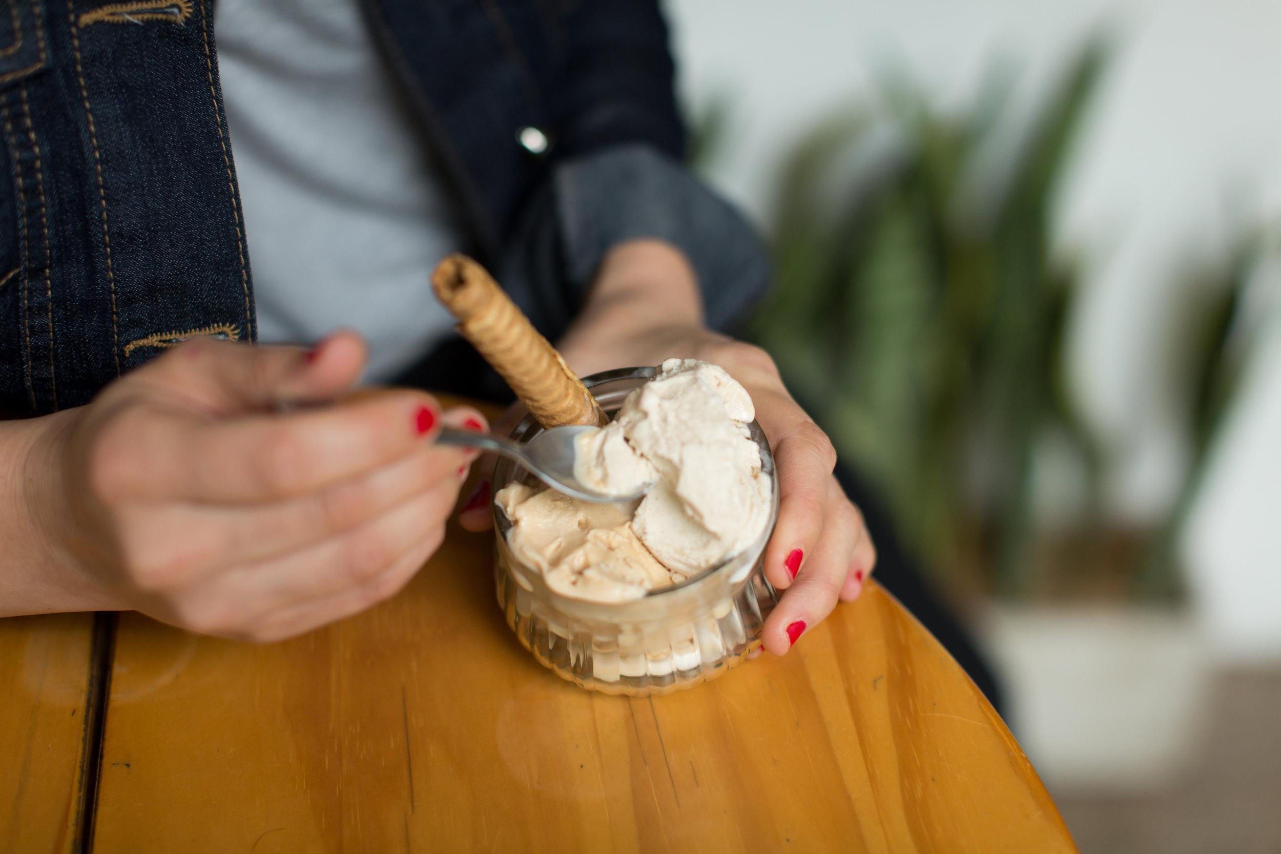 - Nossa pequena sorveteria oferece sorvetes artesanais saborosos com opções veganas e não-veganas