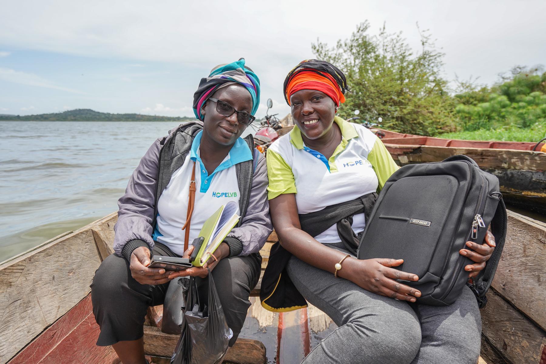 Jackie Nakajubi and Stellah Mbatudde, two of Pathfinder's HoPE-LVB project staff in Uganda