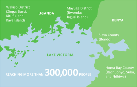 The regions in Uganda and Kenya where Pathfinder's HoPE-LVB project operates