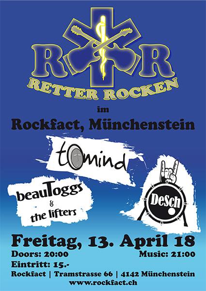 Die Retter (man kennt sie aus dem Spital und den grünen Notfallwagen) rocken im Rockfact Music Club!!!  Ein Feuerwerk an gutem handmade Rock, Blues und Pop von drei Bands.   Ein einmaliges Projekt zur Rettung der guten Laune und ein Abend zum schwelgen, tanzen und geniessen.  Let's rumble.  20 Uhr, Eintritt CHF 15.-