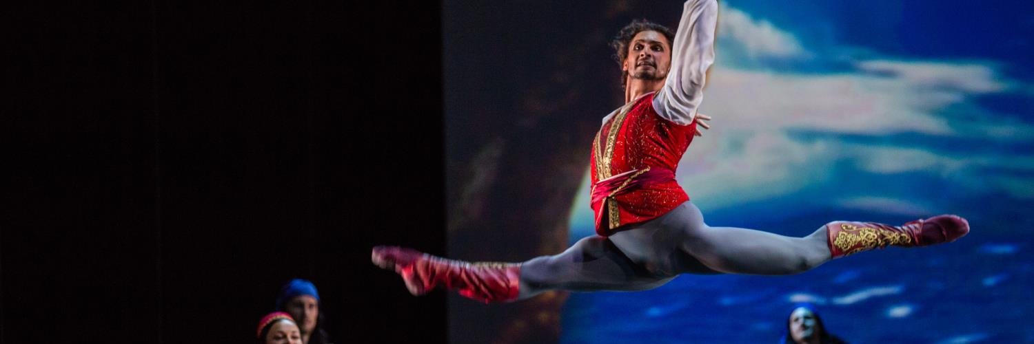 20 Apr 2018  20:00  Emirates Palace  This Abu Dhabi Classics' season will conclude with a one-of-a-kind ballet performance by the Donetsk Opera and Ballet Theatre with leading ballet dancers from the renowned Bolshoi Theatre, Ivan Vasiliev and Ekaterina Krisyanova, alongside the first Emirati Ballerina – Alia Al Neyadi for a one-night special performance at Emirates Palace on the 20th of April 2018.  Le Corsaire, based on Lord Byron's poem, is a classical heritage ballet first performed at the Paris Grand Opera in 1856.  Choreographed and staged by the legend himself: Yuri Grigorovich, it incorporates all the iconic dancing scenes: Le Jardin Animé, Pas d'Esclave, the Grand Pas de Trois des Odalisques and Le Corsaire Pas de Deux, which are among classical ballet's most iconic and performed excerpts. Yuri Grigorovich first staged this ballet in 1994 at the Bolshoi Theatre.  The story follows the adventures of Conrad, chief of the pirates, and Medora, the young Greek woman he loves. Le Corsaire, much like another famous pirate tale, glosses over kidnapping while focusing on the adventures and romance.  This season's Abu Dhabi Classics programme is organized by the Department of Culture and Tourism and produced by Flash Entertainment.   Tickets are available now on sale with prices starting from AED 195.   Book your tickets at  www.ticketmaster.ae and all Virgin Megastores across the UAE.  Nirvana Travel & Tourism, the official Travel Agent Partner, is providing hotel packages for the show. For package information, visit  www.ntravel.ae and to book call  +971 2 627 7997 Ext. 2