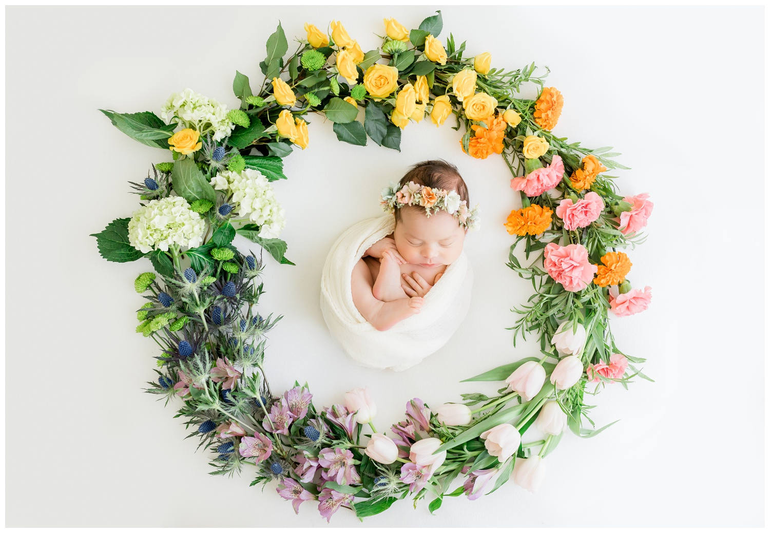 Beautiful floral wreath created by Valerie of Bloom Floral Artistry