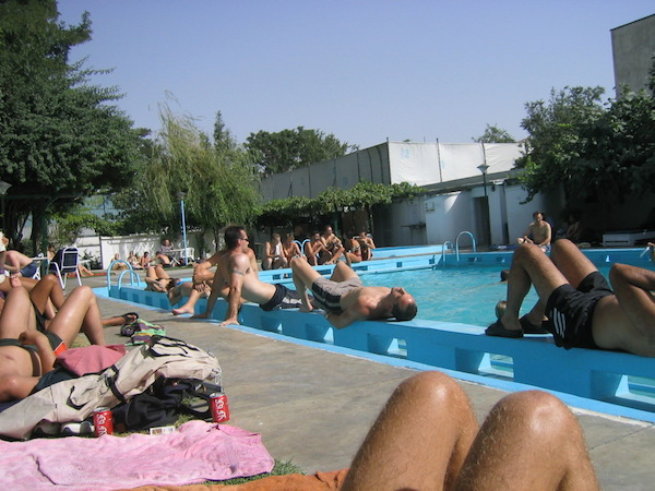 The grotty pool at the UN clubhouse was a popular gathering spot on weekends