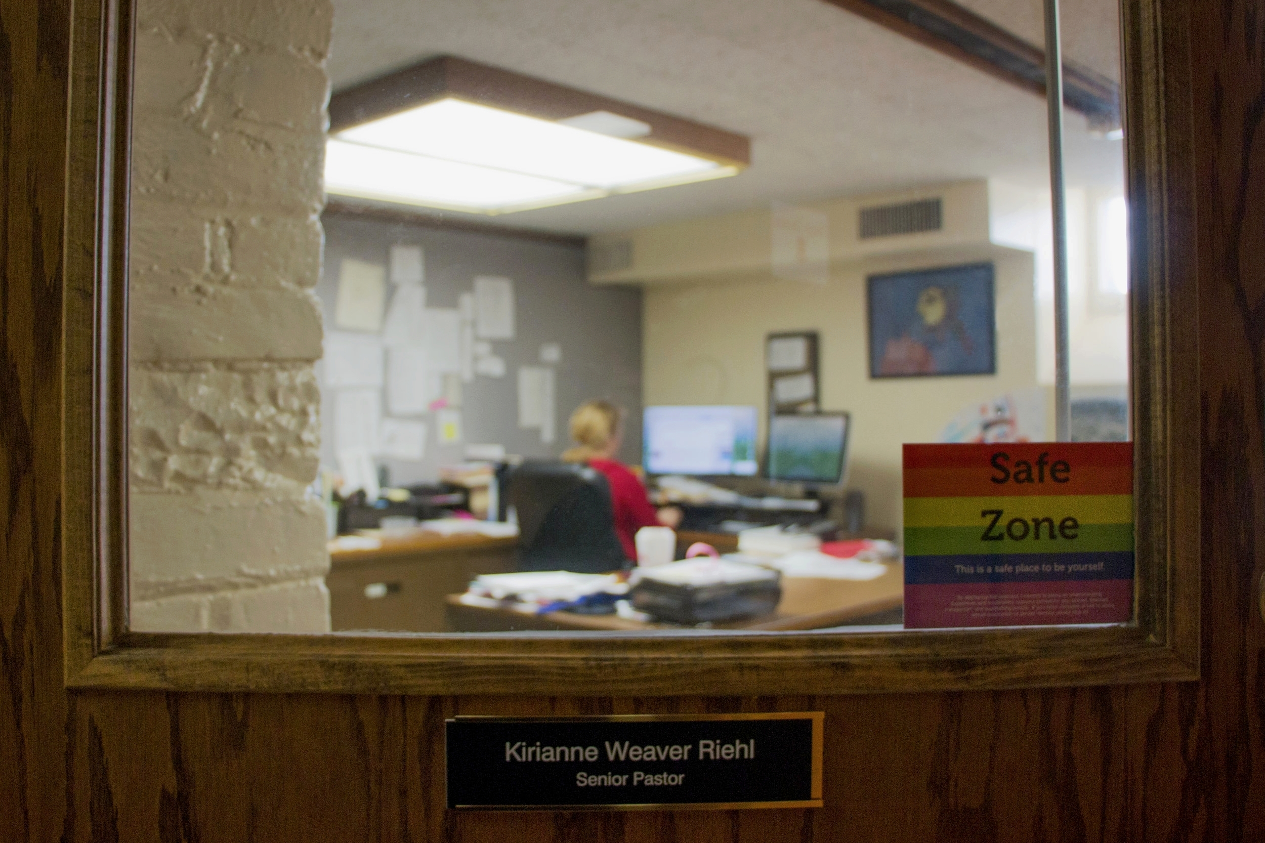 "A lot of Kirianne's time is spent in her church office responding to emails of parishioners who seek out her advice. She keeps a ""Safe Zone"" sign on her door to support LGBTQ rights. She wants her church parish toreflect her progressive values and encourages her members to welcome marginalized groups into the community."