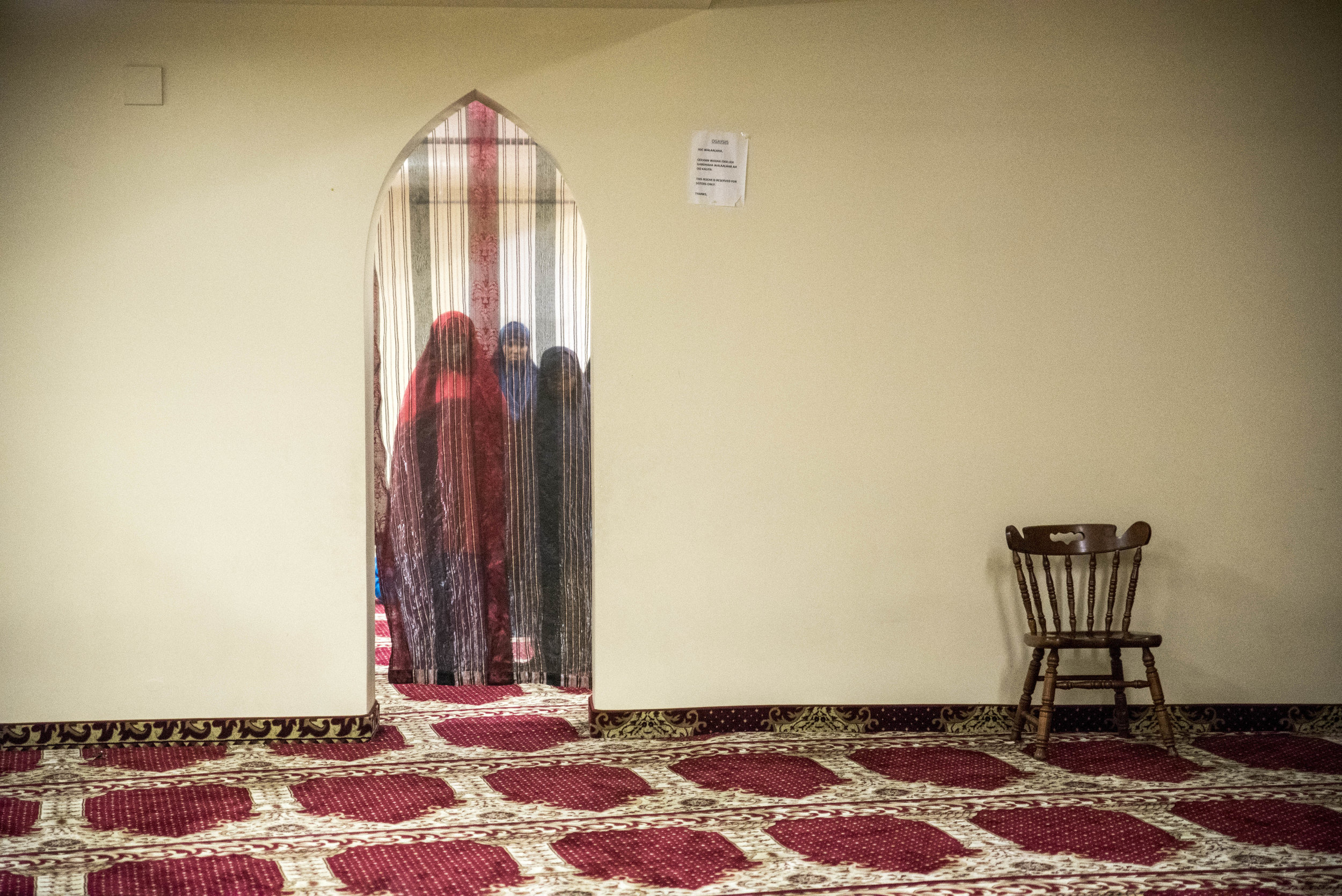 WILLMAR, MN - Mosque members conduct their evening prayer behind curtains at the Islamic Society during Ramadan May 31.