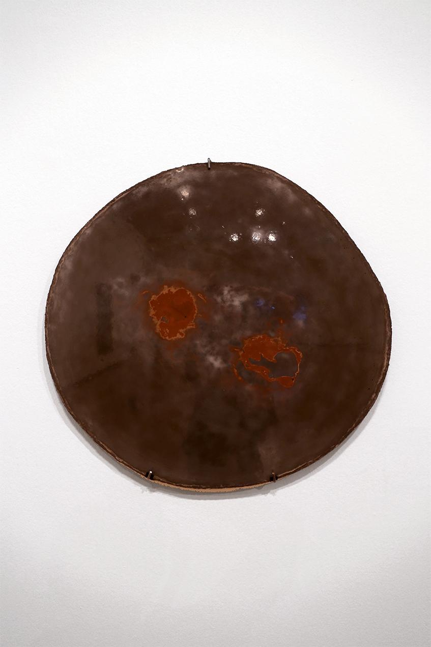 'Slice II', 2015. Aluminous cement, copper powder.