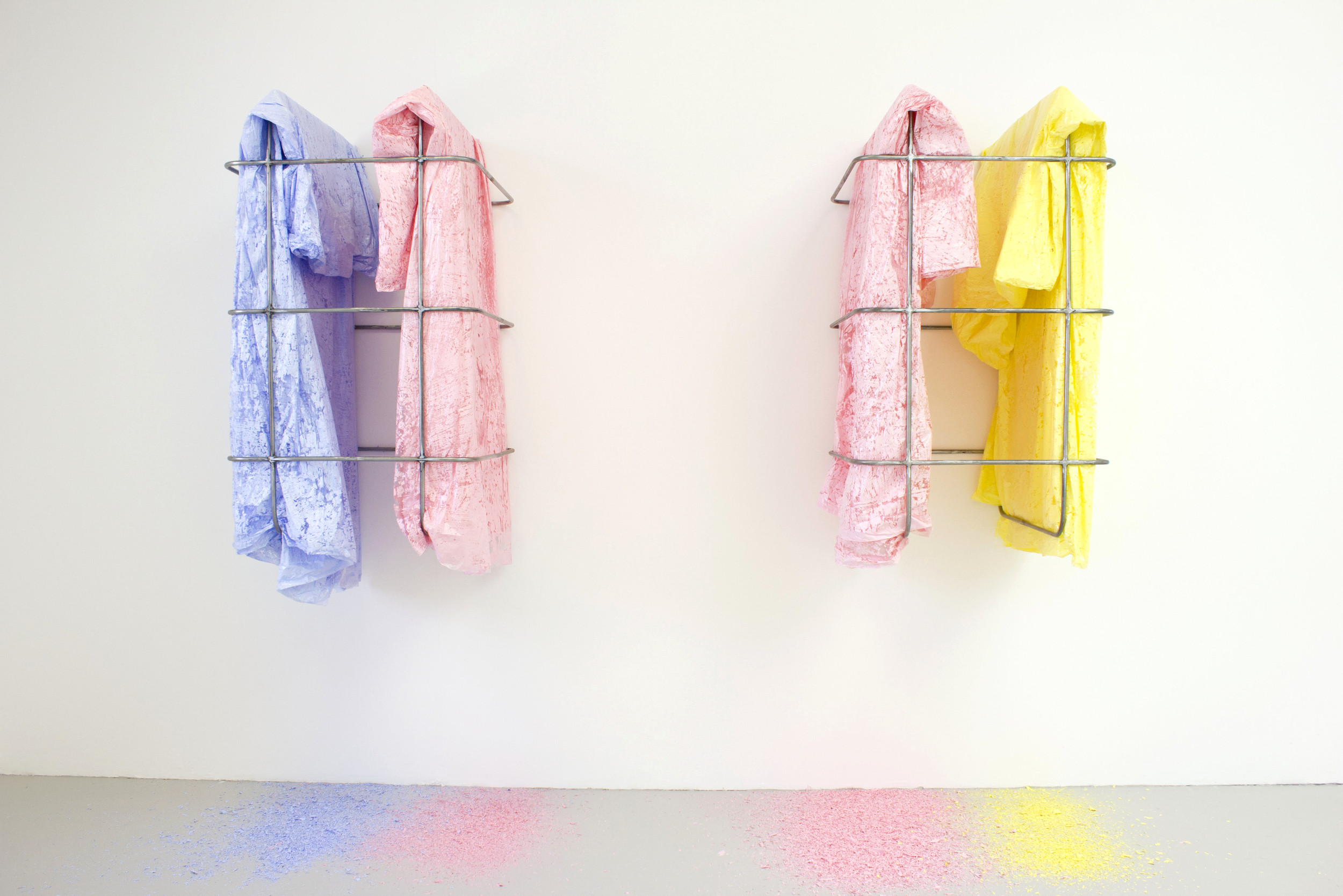 Wall Cages (Blue/Pink, Pink/Yellow) . Steel, Acrylic on Polythene, 2013