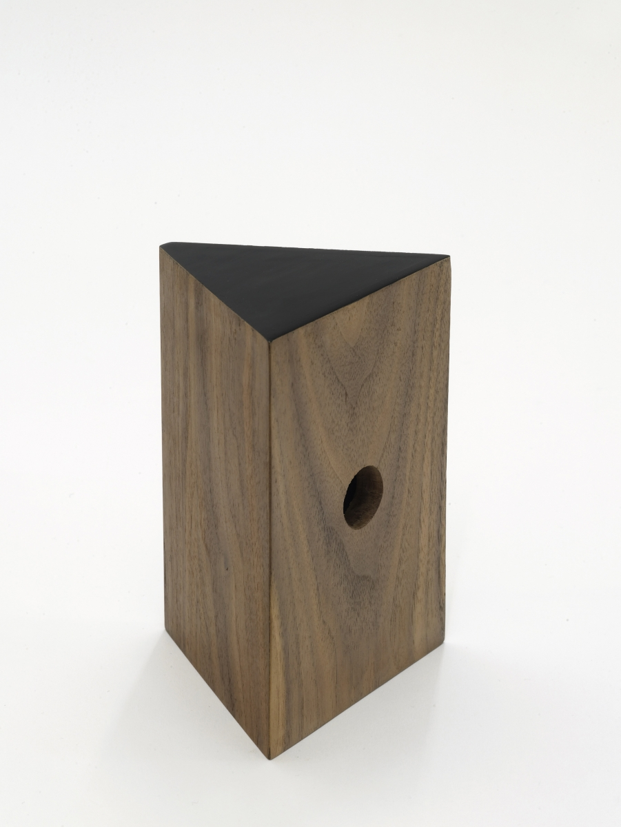 Becky Beasley,  Camera II , 2014, Walnut, black lacquer 17.5 x 12 x 10 cm. Courtesy Laura Bartlett Gallery, London.