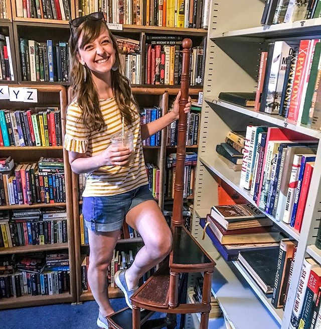 Finding a bookshop while traveling is like finding a friend in a city of strangers. • I'm still dreaming of this bookshop we discovered on Capitol Hill last weekend. (Also, isn't there something so chummy & charming about the word bookshop vs bookstore?) It was everything a used bookshop should be—narrow, winding staircase, mismatched chairs in hidden corners, quirky handwritten signs, stacks of books from floor to ceiling, and this adorable spiral stepladder *swoon*. Jon had to drag me away after an hour, but what a delightful hour it was. • #itsthelittlethings #favoritethings #joyintheeveryday #capitolhillbooks  #simplepleasures #bookstagram #librarydreams #bookshop #booknerd #justgivemeabluedressandcallmeBelle