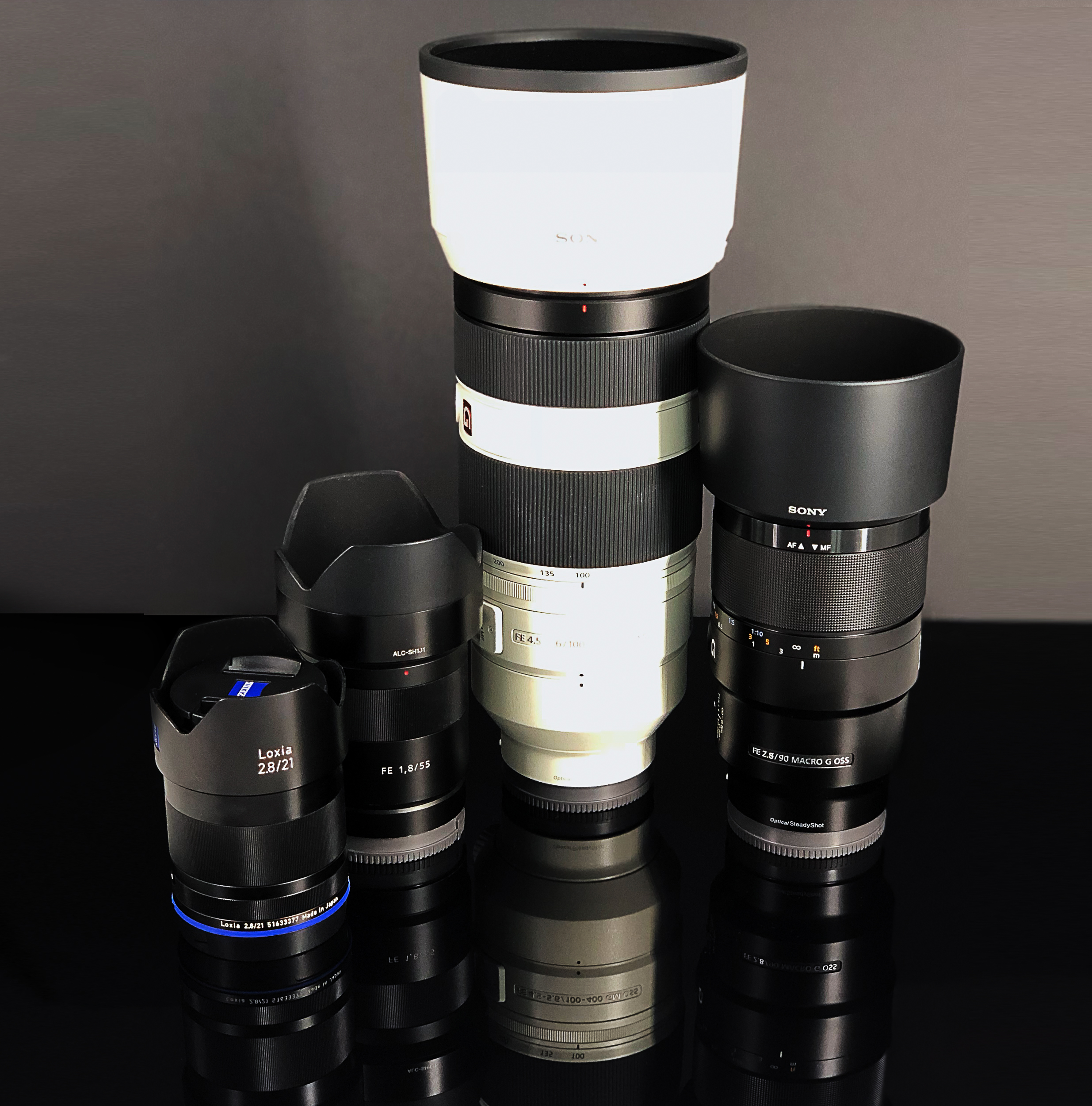 Zeiss Loxia 21mm f2.8, Sony 55mm f1.8, Sony 90mm f2.8 Macro, Sony GM 100-400mm f4.5-5.6