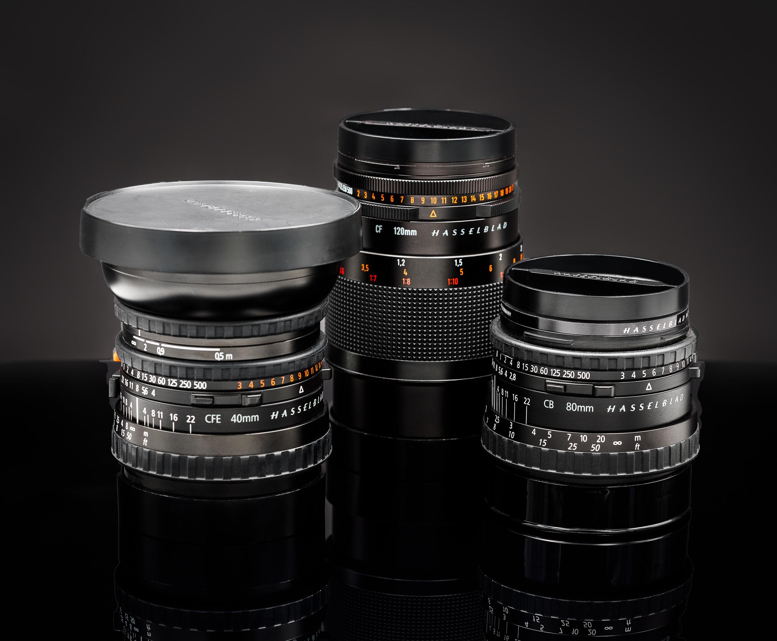 Hasselblad 40mm f4, 120mm f4 Macro, 80mm f2.8
