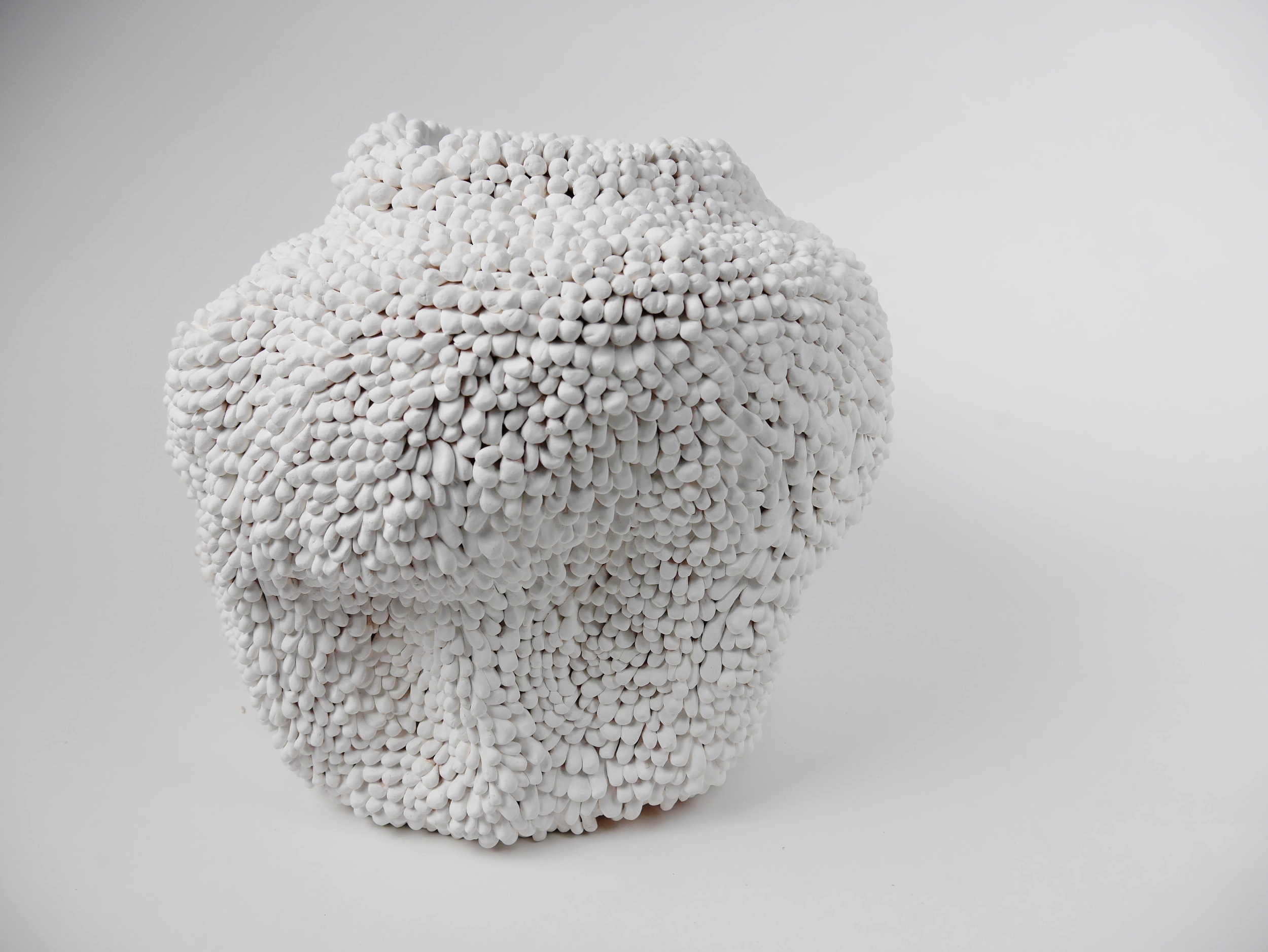 "Morgan McKnight Advanced Spatial Arts, Spring 2017 Pollen Vase white stoneware, underglaze 16"" x 15"" x 18"""