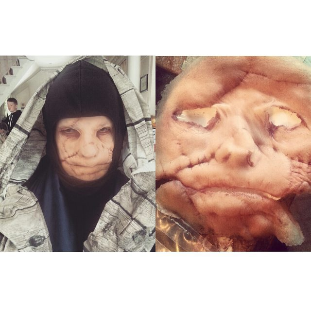 jess-summer89 :     Character:Sloothsayer    #beforeandafter on set for #jonrafman #stickydrama  showing @zabludowicz_collection until Dec 20th ♡    #makeup #makeupartist #prosthetics #sfx #halloween #scarmakeup #charactermakeup #gelatinprosthetic #mua
