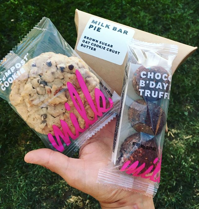 My girl @kimmieannecakes hooked it up with all the crack pie & truffles and compost cookies from @milkbarstore 🖤 #countdownto38 #milkbar
