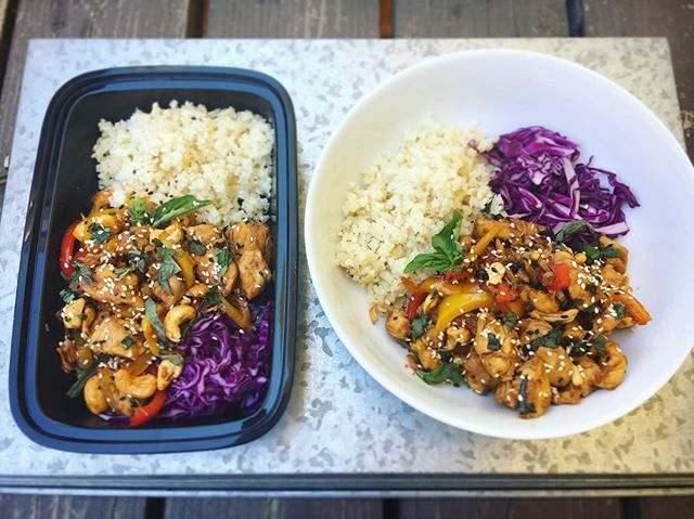 1 for lunch ➕ 1 for later  Thai basil cashew chicken with cauli rice...