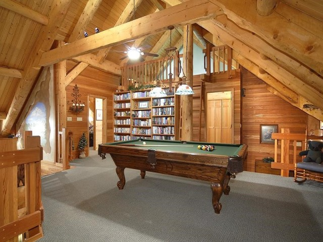 Pool Table, Bookcase and Upper Loft
