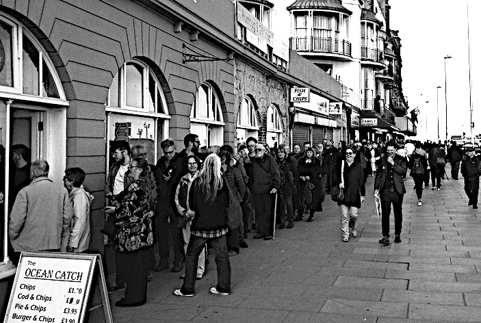 Queuing to get in: Jeremy a huge draw on Hastings seafront, May 24  Photo: Pete Knight