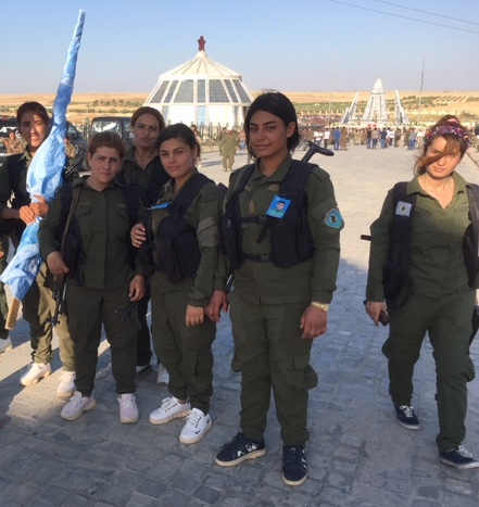 YPJ fighters at the Kobane Martyrs memoria l