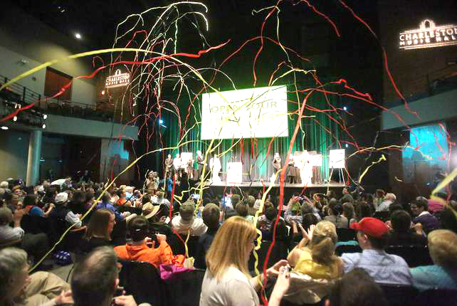 Streamers were launched high into the air!