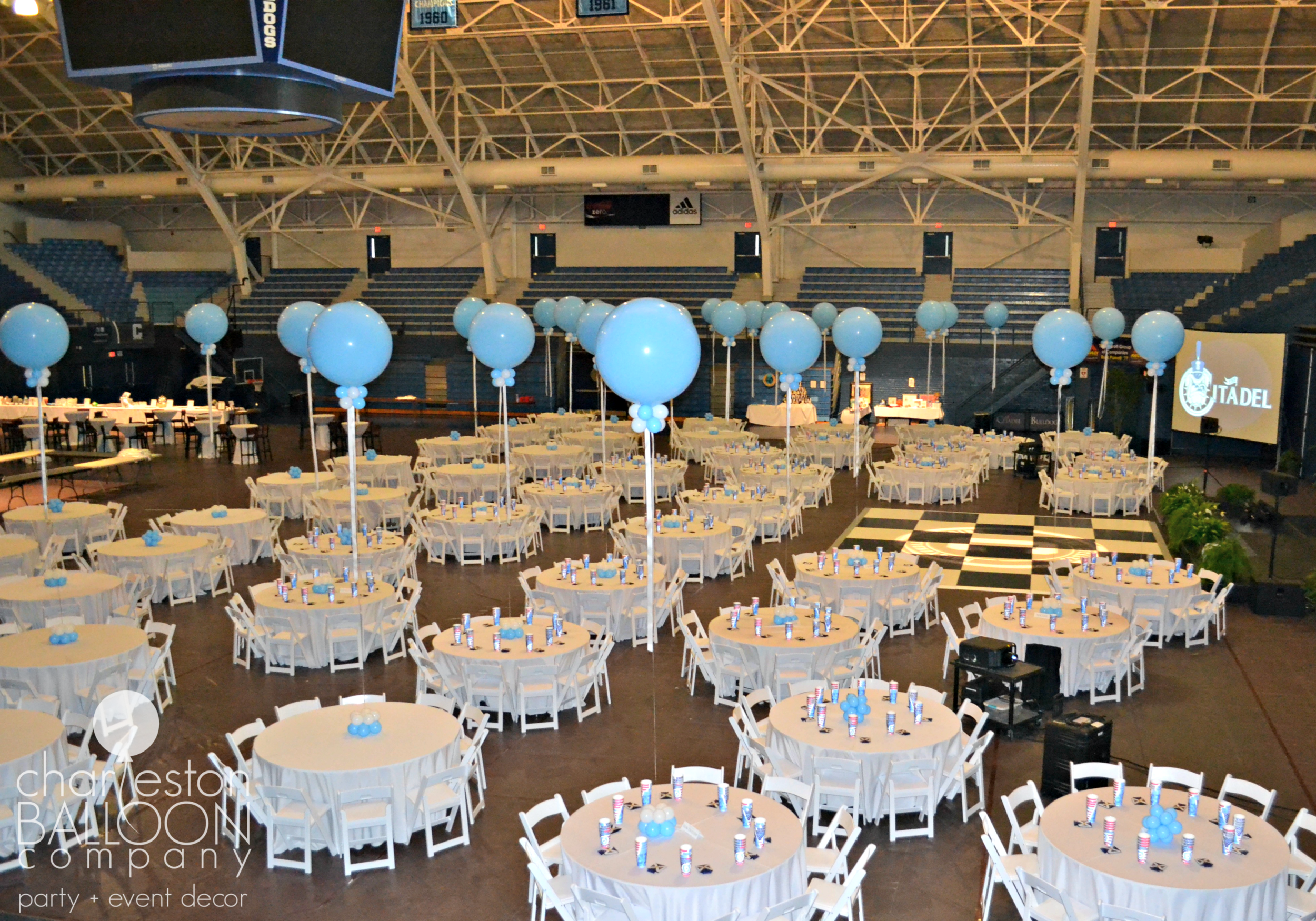 We used large latex balloons as table centerpieces.